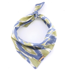 Blue and Green Ikat Limited Edition Dog Bandana