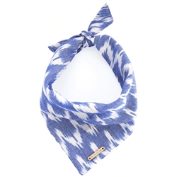 Blue Chevron Ikat Limited Edition Dog Bandana