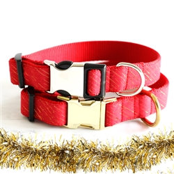 Holiday Red & Gold Tinsel Dog Collars & Leashes -- 'Reindeer'