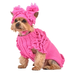Hot Pink Ruffle Sweater w/Hat