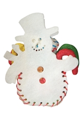 HOLIDAY RAWHIDE SNOWMAN FILLED W/MUNCHIES