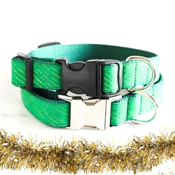 Holiday Green & Gold Tinsel Dog Collars & Leashes -- 'ELF'