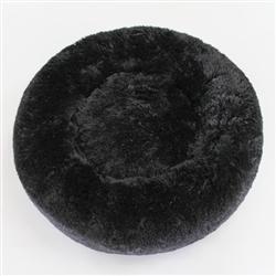 Cuddle Shag Dog Bed: Black