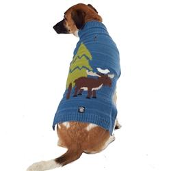 Acadia Moose Sweater in Blue Heather