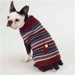 Shadow's Fair Isle Sweater in Cranberry/Gray