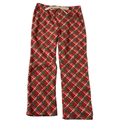 Adult Unisex Red Plaid Fleece Pajama Bottoms for Humans