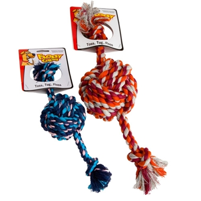 """Flossy Chews Small 18"""" Color Monkey Fist Tug"""
