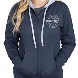 Logo Hoody, Zip Up, Midnight Blue/Grey Drawstrings, Unisex