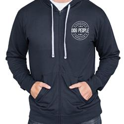 Logo Hoody, Zip Up, Midnight Blue/Grey Drawstrings, Unisex