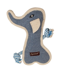 "Aussie Naturals® 11"" Tuff Mutts Elephant Toy W/ SQUEAKER - FILLED WITH ALL NATURAL COCONUT FIBER"