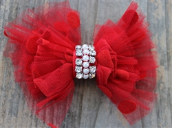 Party Dress Red Removable Dog Collar Bow