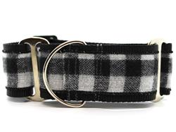Buffalo Plaid Glacier White Martingale Dog Collar