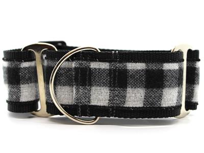 Buffalo Plaid Glacier White Extra Wide Martingale Dog Collar