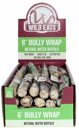 """Wild Eats® Water Buffalo Bully Wrap - 6"""" Gullet filled with pizzle INDIVIDUALLY WRAPPED (ALSO AVAILABLE IN 48 UNIT COUNTER DISPLAY 70607)"""
