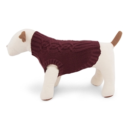 Burgundy Cable Knit Ribbed Dog Sweater