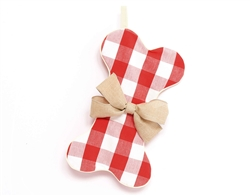 Gingham Dog Bone Christmas Stocking