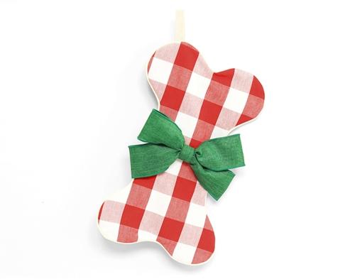 Gingham Dog Bone Christmas Stocking