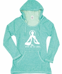 Women's Dog is my Zen tunic hoodie - Teal