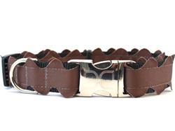 Brick-a-Bark Brown Collar Silver Metal Buckles