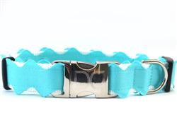 Brick-a-Bark Blue Collar Silver Metal Buckles