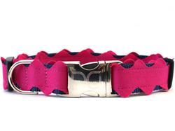 Brick-a-Bark Dark Pink Collar Silver Metal Buckles