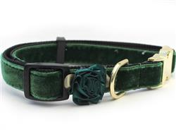 Mistletoe Pine Green Velvet Collar Gold Buckles