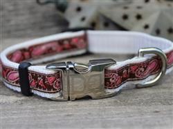 Boho Pink & Brown Collar Silver Metal Buckles