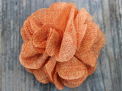 Derby Melon Orange Linen Dog Collar Flower