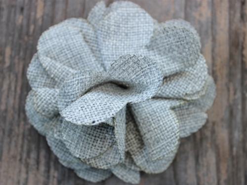 Derby Smoke Grey Linen Dog Collar Flower