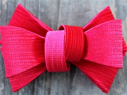Kimono Red Structured Dog Collar Bow