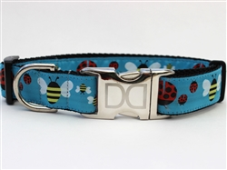 Lady Bugs & Bumble Bees Collar Silver Metal Buckles