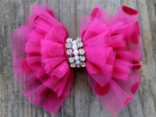 Party Dress Pink Removable Dog Collar Bow