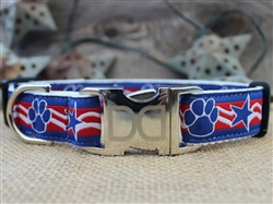 Stars and Paws Collar Silver Metal Buckles