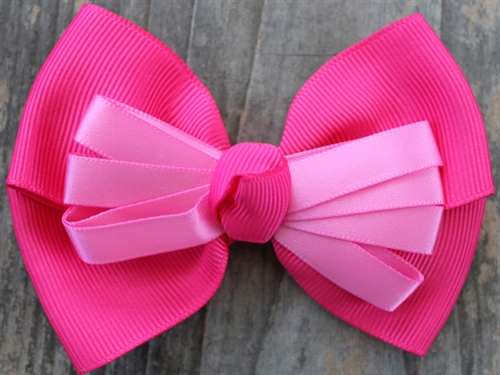 Tuxedo Pink Dog Collar Bow