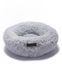NANDOG ROUND SHAGGY MICRO FLEES PET BED - LIGHT GRAY