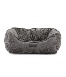 CRUSHED VELVET GRAY REVERSIBLE CUDDLER PET BED