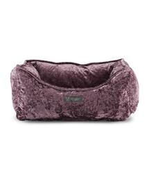 CRUSHED VELVET LAVANDER REVERSIBLE CUDDLER PET BED