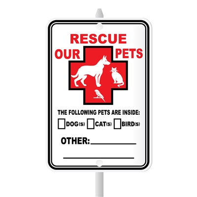 "Rescue Our Pets Mini Garden Sign, 3.75"" x 5.5"" on 8"" stake"