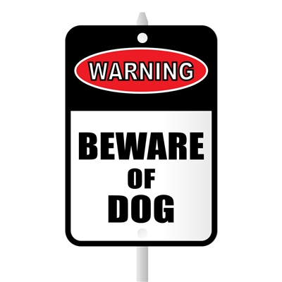"Beware of Dog Mini Garden Sign, 3.75"" x 5.5"" on 8"" stake"