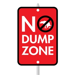 "No Dump Zone Mini Garden Sign, 3.75"" x 5.5"" on 8"" stake"