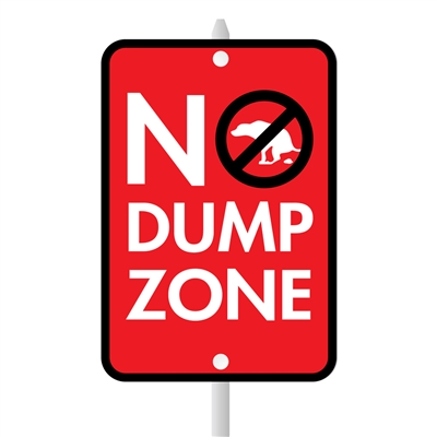 "No Dump Zone Mini Garden Sign, 3.75"" x 5.5"" on 8"" stake"