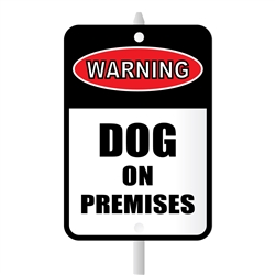 "Dog on Premises Mini Garden Sign, 3.75"" x 5.5"" on 8"" stake"