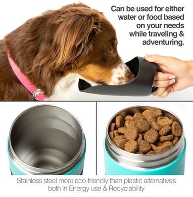 PetFusion On-the-go Dog Water Bottle w/ double wall vacuum stainless steel - 22 oz.