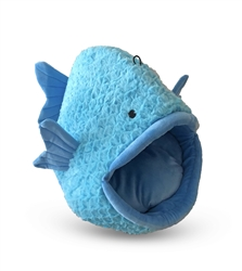 BLUE FISH SHAPE MICRO FLEES PET BED
