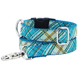 Plaid Teal Essential Collars and Leads