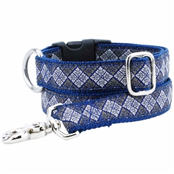 Leaf Tile Navy Essential Collars and Leads