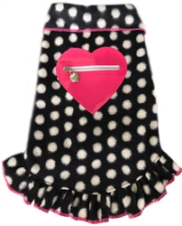 Black/White Dot w/Pink Heart - Fleece Pullover Dress