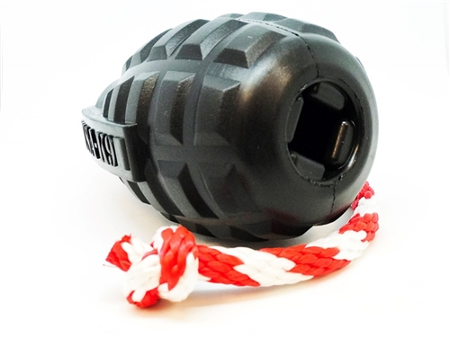 USA-K9 by SodaPup Magnum Black Natural Rubber Grenade Chew Toy, Reward Toy, Tug Toy, Retrieving Toy and Treat Dispenser for The Most Aggressive Chewers, Guaranteed Tough, Made in USA, Black