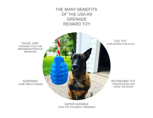 USA-K9 by SodaPup - Natural Rubber Grenade Chew Toy, Reward Toy, Tug Toy, Retrieving Toy and Treat Dispenser for Aggressive Chewers, Guaranteed Tough, Made in USA, Blue