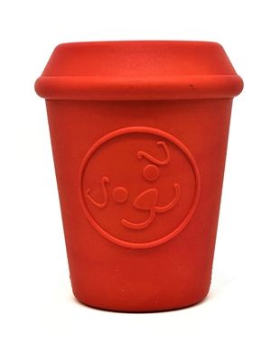 MuttsKickButt by SodaPup - Coffee Cup - Natural Rubber Treat Dispensing Toy - Slow Feeder - Durable Rubber for Power Chewers - Red - Medium
